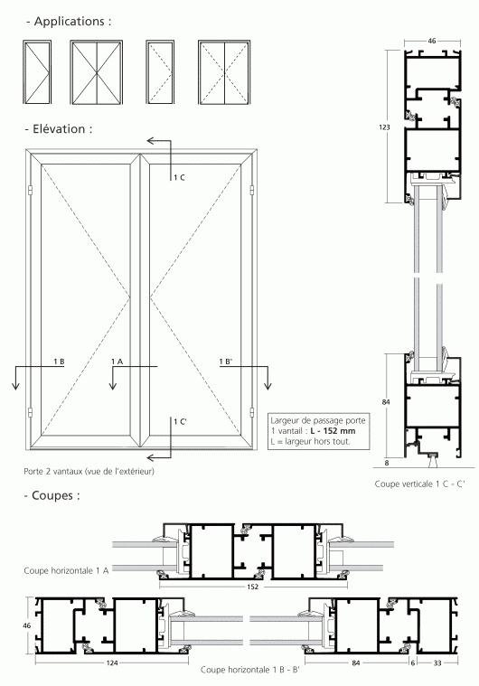 Simple action 1 et 2 vantaux ouverture vers l ext rieur for Porte 2 vantaux exterieur