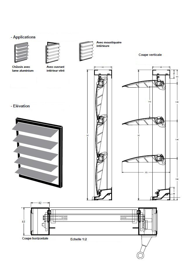 Jalousie lames aluminium orientables for Fenetre jalousie