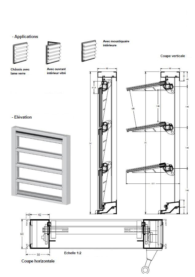 Jalousie mixte lames orientables verre et aluminium for Fenetre jalousie en bois